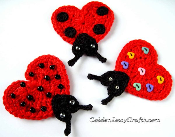 Crochet Heart Ladybug Applique