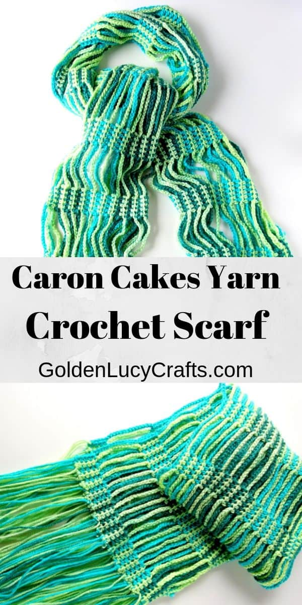 Crochet scarf made with Caron Cakes yarn, crochet scarf pattern free