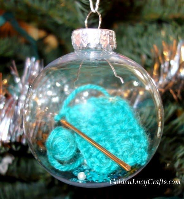 DIY Christmas ornament, crochet themed, gift idea for crocheters