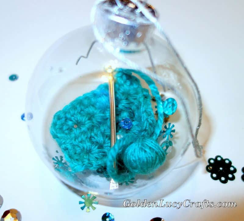 Crochet themed christmas ornament goldenlucycrafts for Clear plastic craft ornaments michaels
