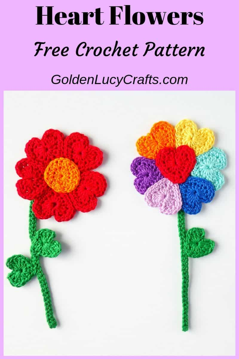 Crochet flowers, heart flowers, free crochet pattern