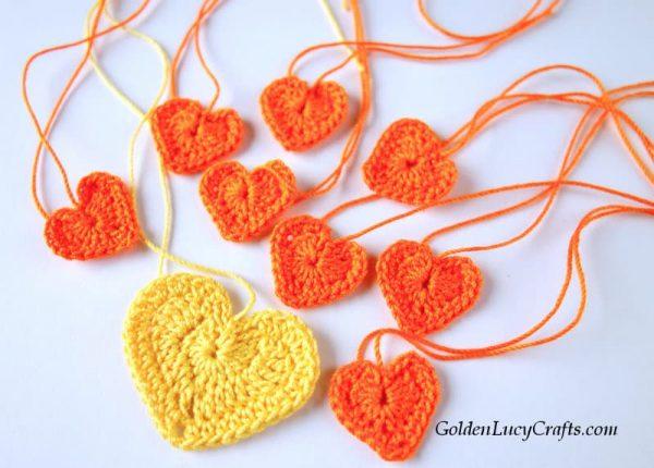 Crochet hearts for lion applique