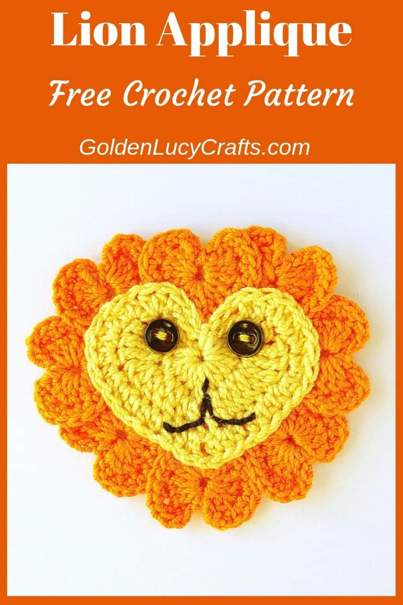 Crochet lion applique, lion made from hearts, free crochet pattern