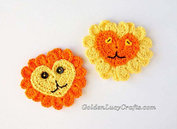 Crochet heart Lion appliques