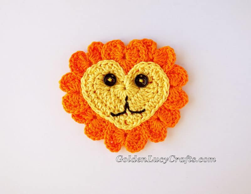 Crochet Heart Lion Applique