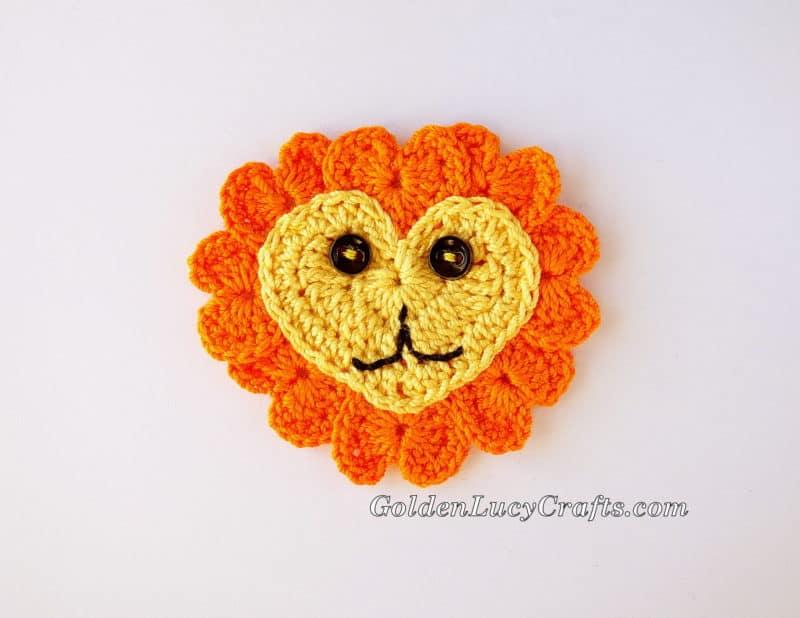 Crochet Heart Lion Applique