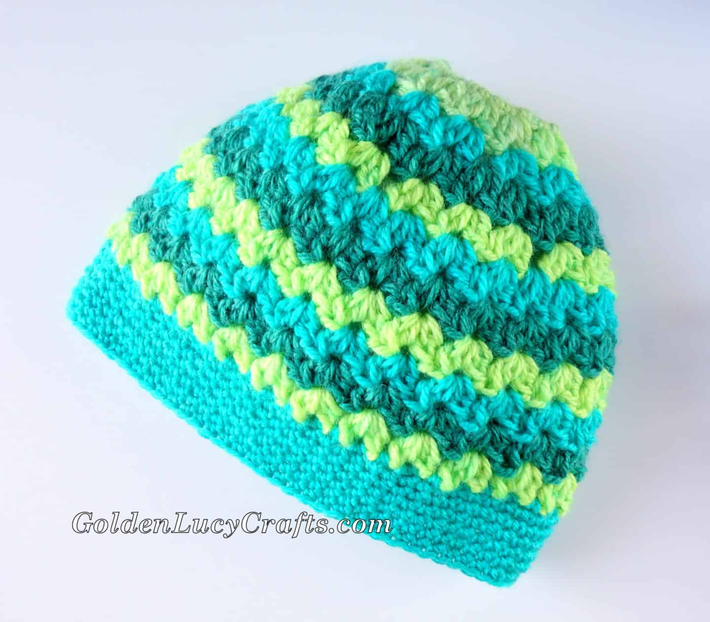 Messy Bun Hat Made with Caron Cakes Yarn