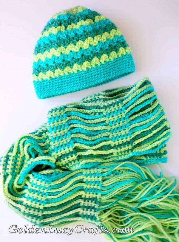 Messy Bun Hat Made with Caron Cakes Yarn