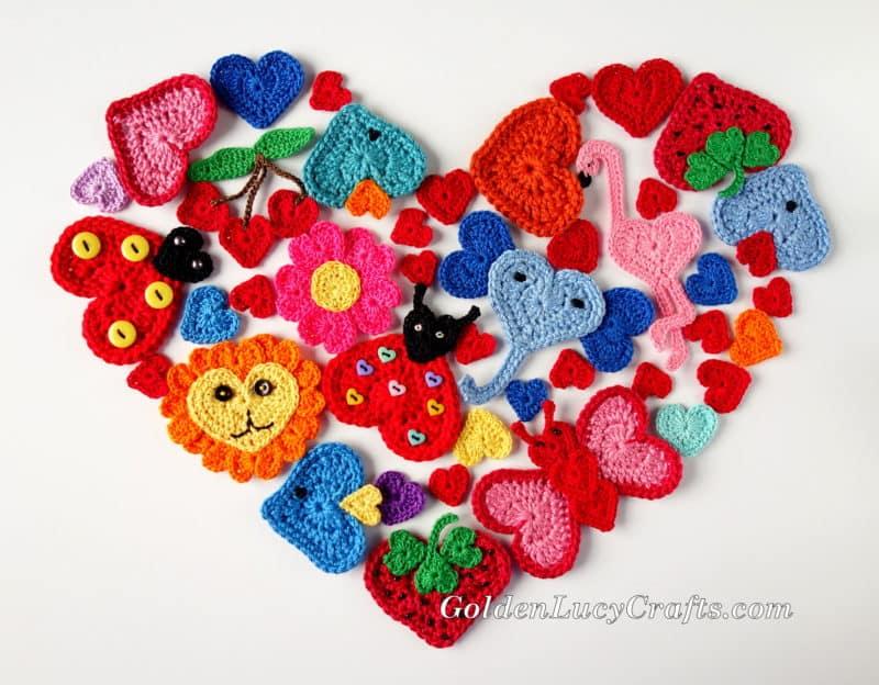 Crochet Heart shaped Appliques Free Patterns