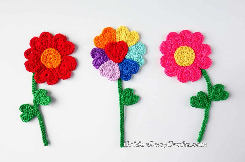 Crochet Heart Flowers