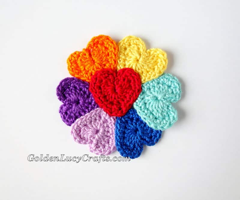Crochet Heart Flowers