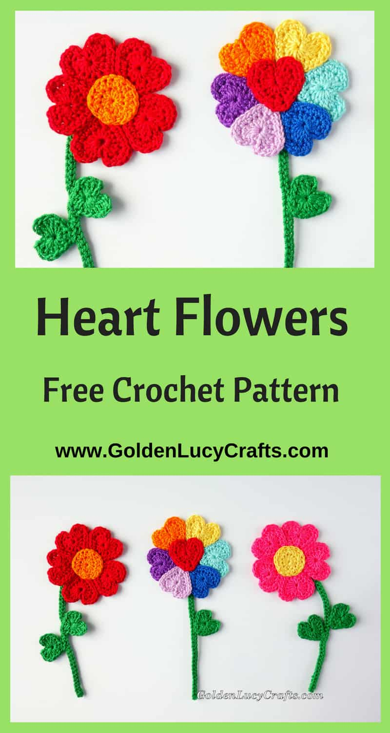 Crochet flowers made from hearts, flower applique, free pattern