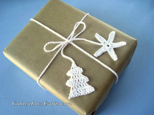 Christmas crochet wrapping ribbons
