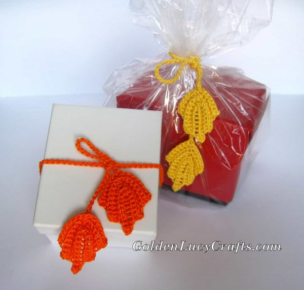 Crochet gift wrapping ribbons ideas