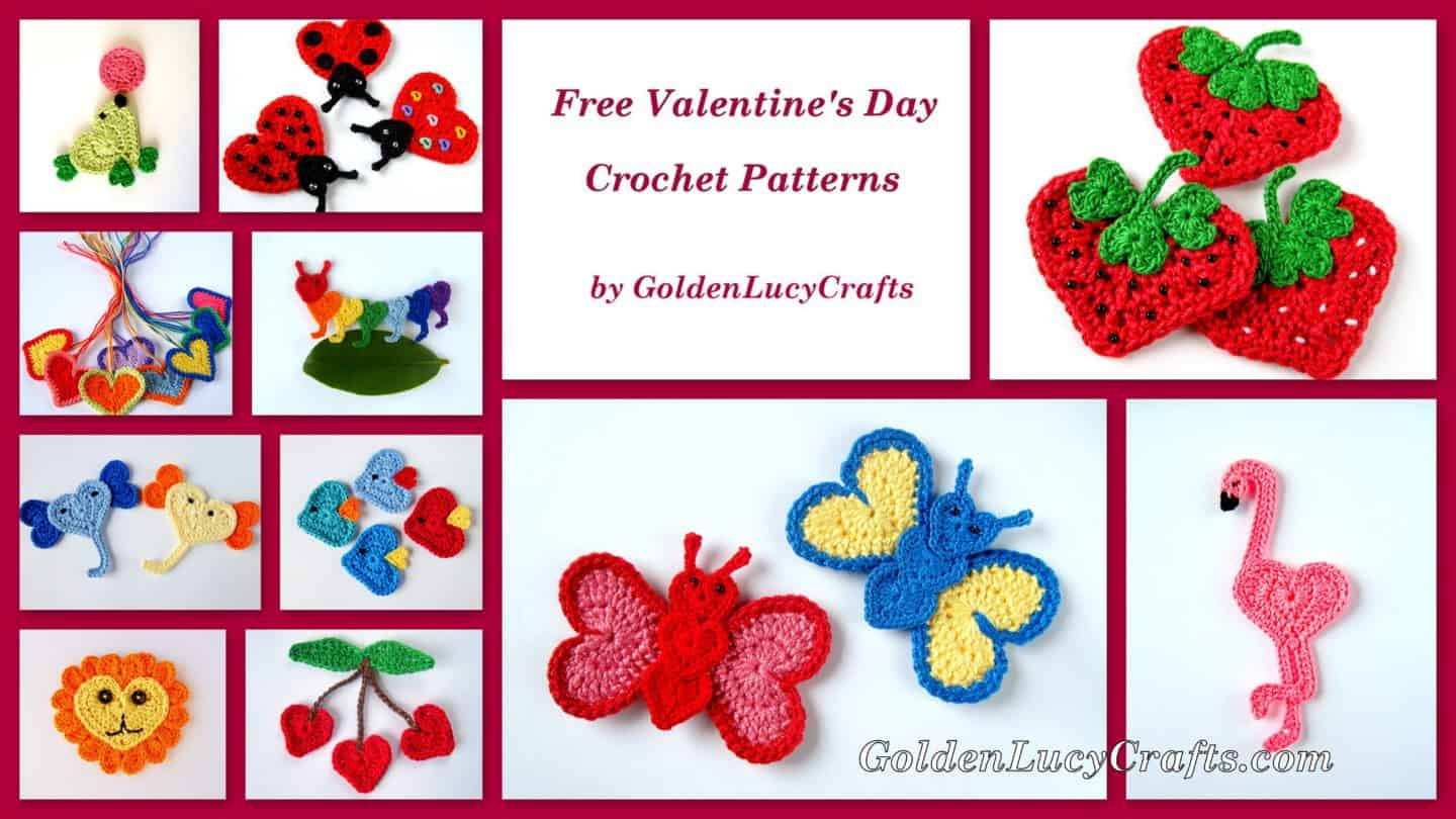 Free Crochet Patterns Valentines Day Appliques Hearts