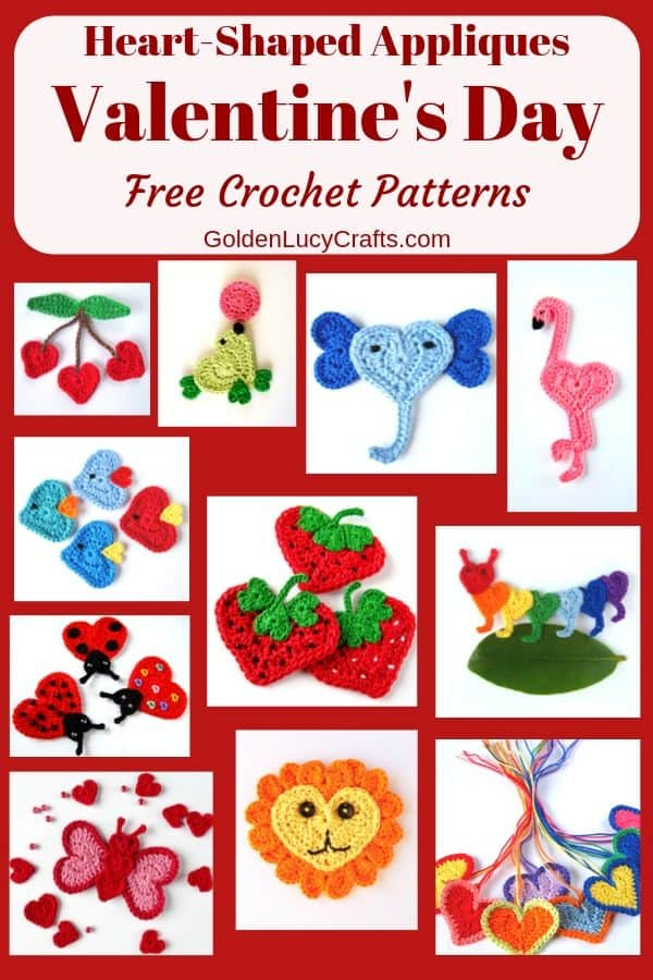 Valentine's Day crochet appliques free patterns, heart-shaped appliques