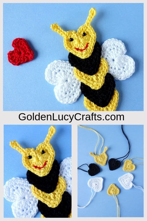 Crochet bee applique, bee made from hearts