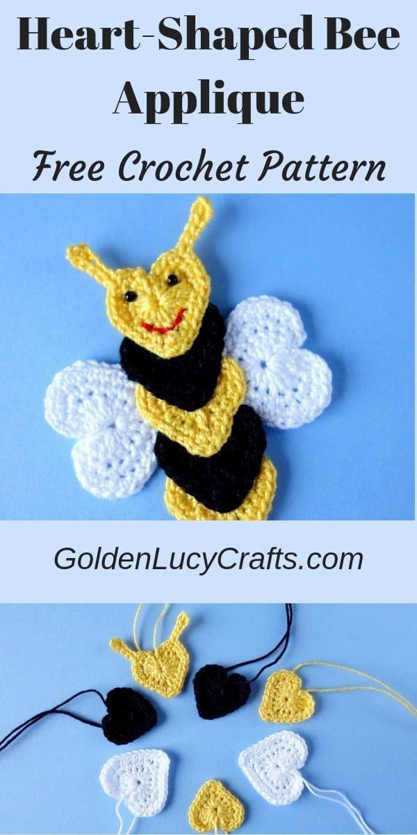 Crochet bee applique, bee free crochet pattern, crochet heart bee