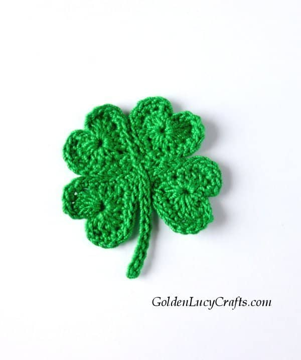 Crochet lucky clover applique