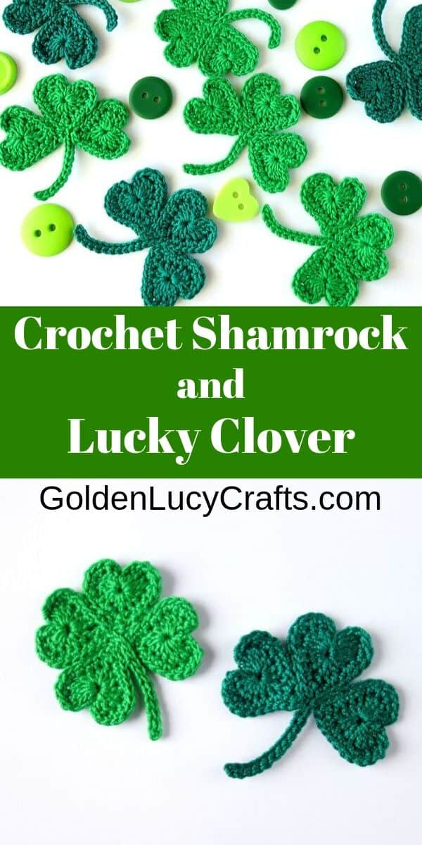 Crochet shamrock and lucky clover appliques, made from hearts, St Patrick's Day crochet, free pattern