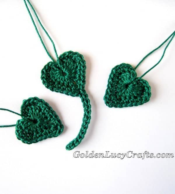 Crochet shamrock made from hearts