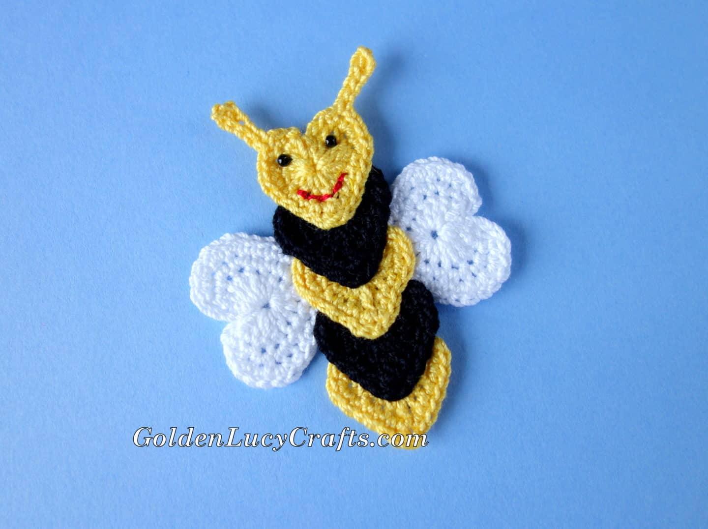 Crochet Bee Applique Free Crochet Pattern Goldenlucycrafts