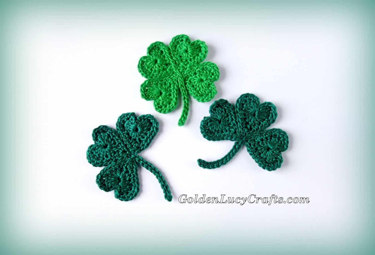 Crochet St Patrick's Day Shamrock and Lucky Clover Appliqués