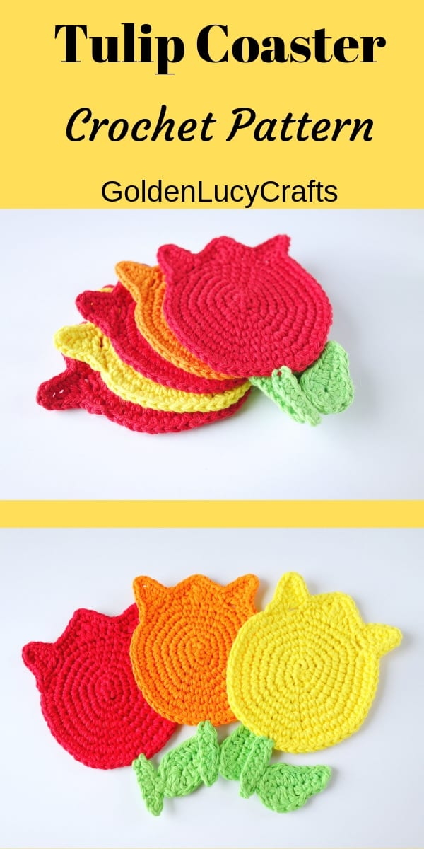 Crochet tulip coasters in red, orange and yellow colors, text saying tulip coaster crochet pattern goldenlucycrafts.