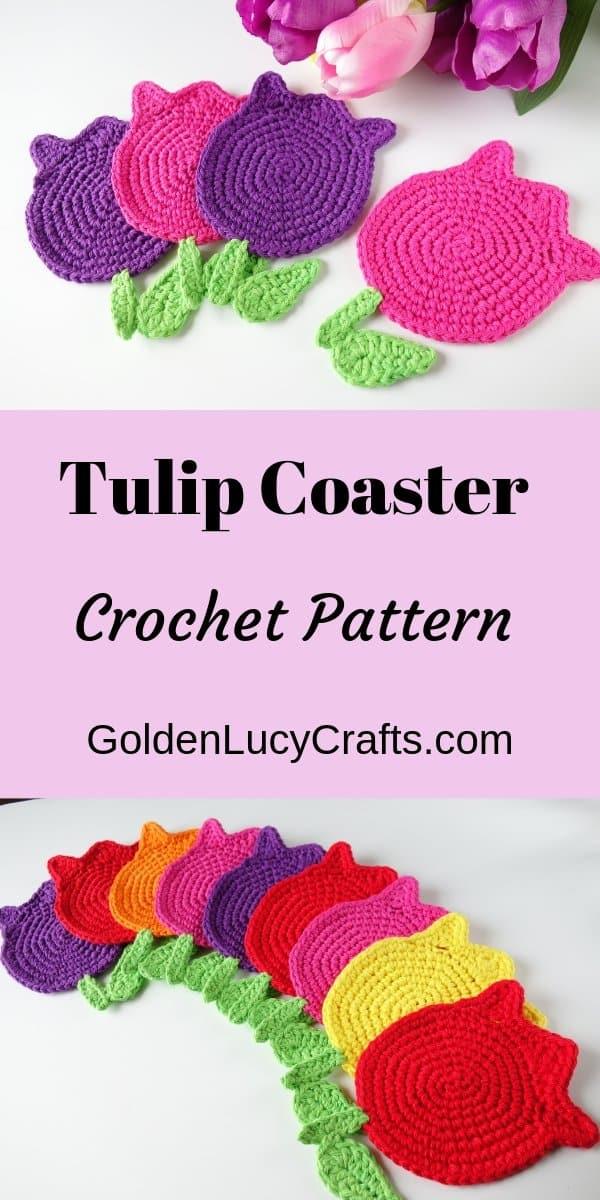 Crochet tulip coasters, tulip applique, crochet pattern