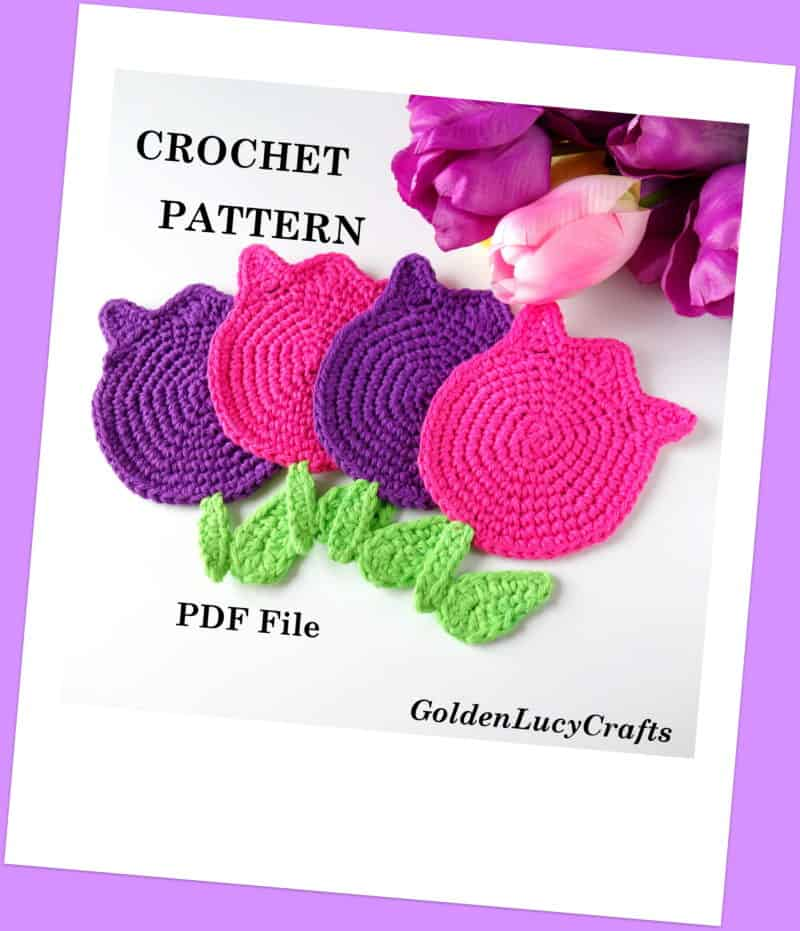 Crochet Pattern Tulips Coasters