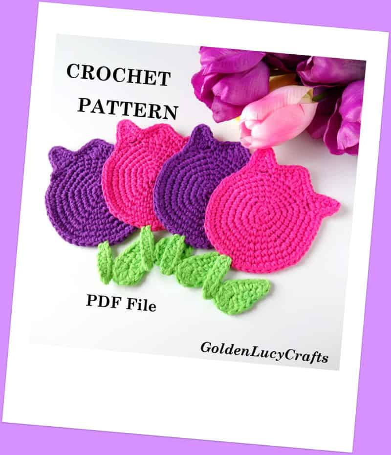 Crochet Pattern Tulips Coasters