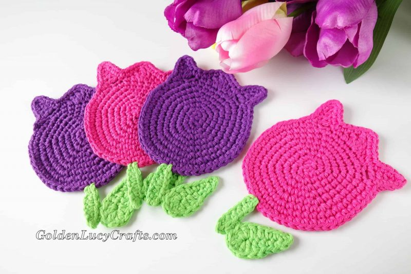 Crochet tulip coaster, applique, crochet pattern