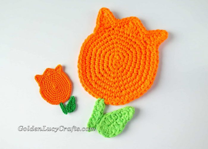 Crochet pattern tulip coaster and applique