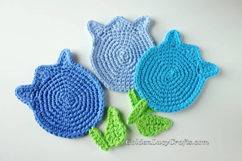 Crochet Pattern Tulip Coaster Applique Motif Goldenlucycrafts