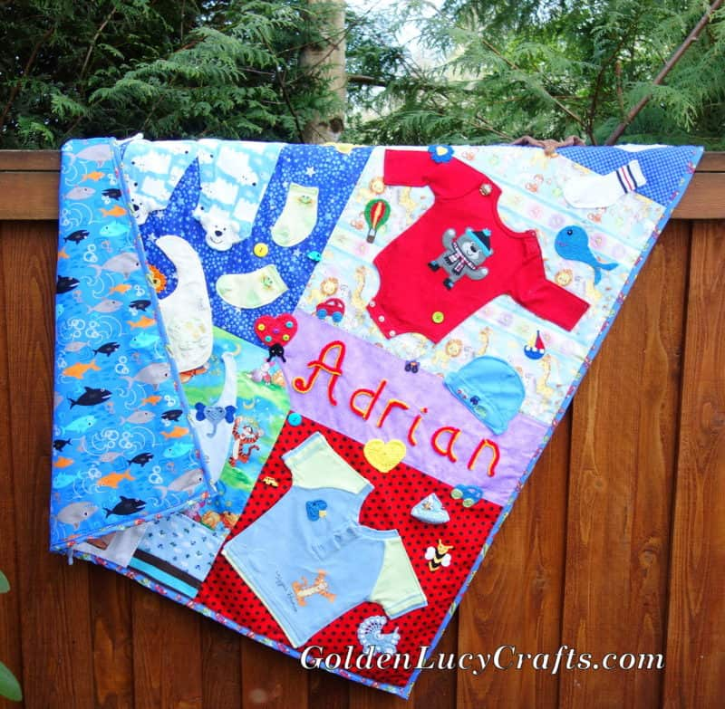 Baby Clothes Memory Quilt Embellished with Crochet Appliqu?s - GoldenLucyCrafts
