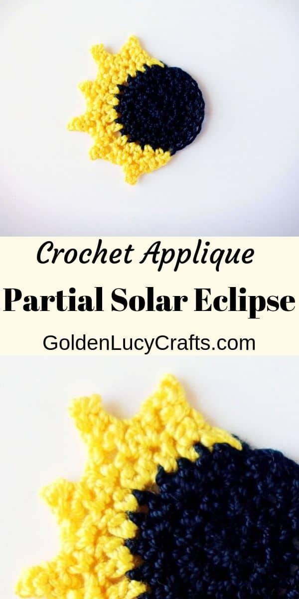 Crochet applique, partial solar eclipse