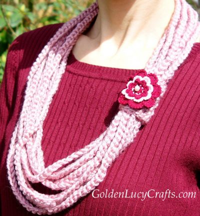 Crochet chain scarf, necklace