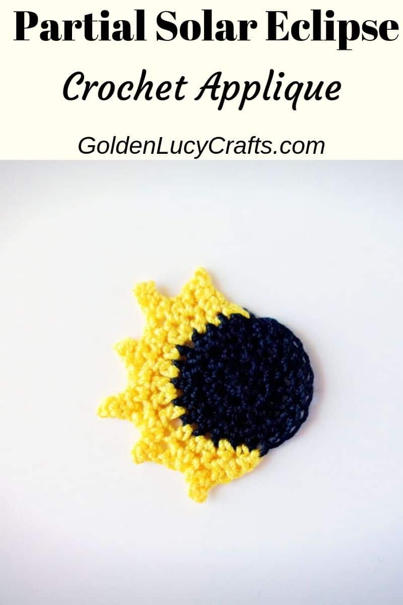 Crochet solar eclipse, partial eclipse applique, free crochet pattern