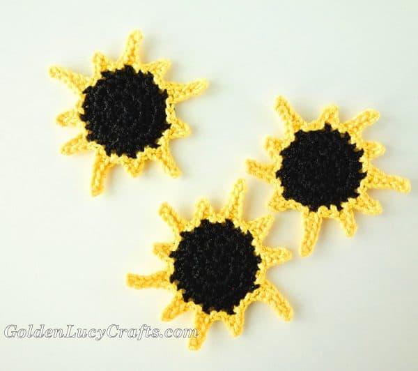 Crochet solar eclipse, total eclipse, pattern