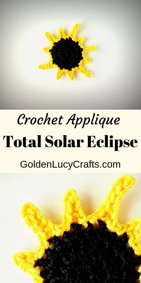 Crochet total eclipse applique, free crochet pattern