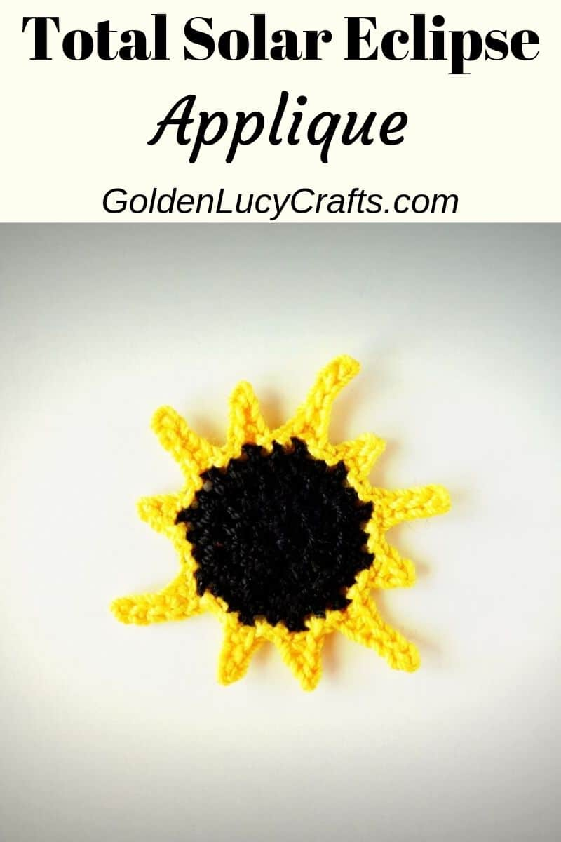 Crochet total solar eclipse applique, pattern free