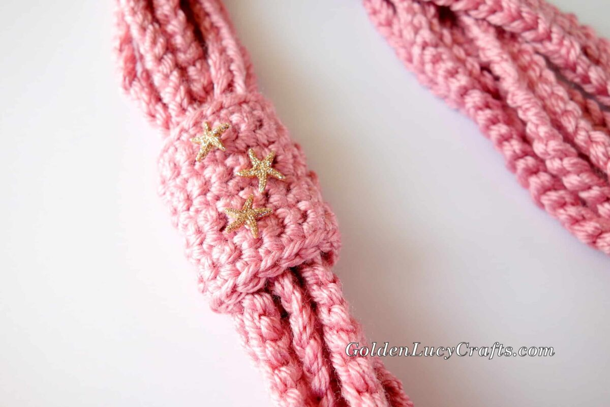 Crochet Chain Scarf embellished with small star buttons.