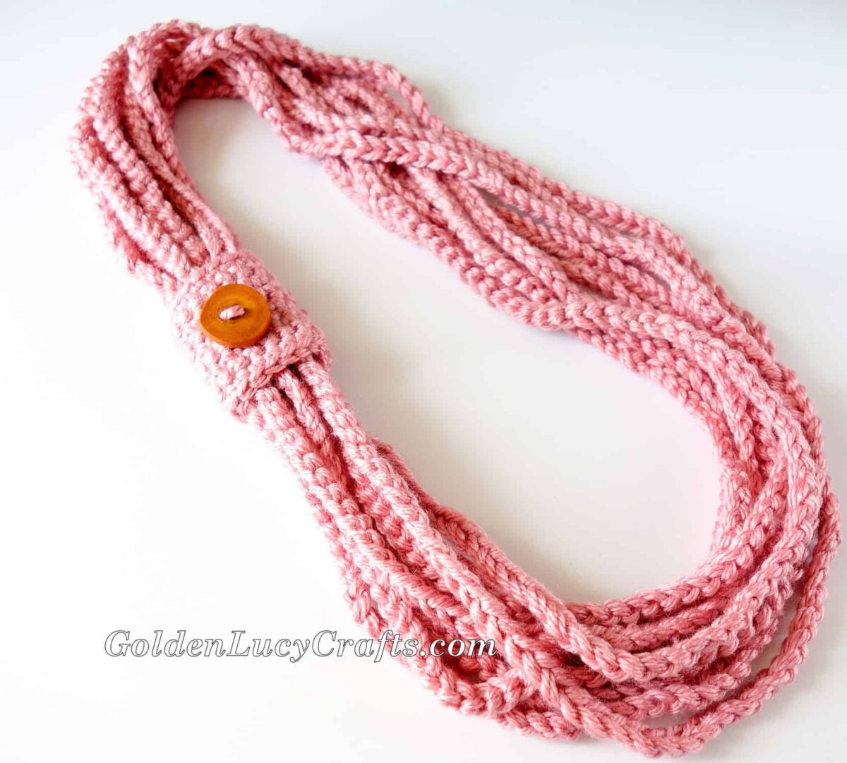 Crochet Chain Scarf embellished with large wooden button.