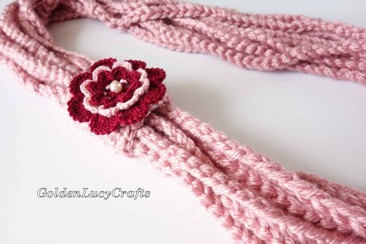 Crochet Chain Scarf embellished with crocheted Irish rose.