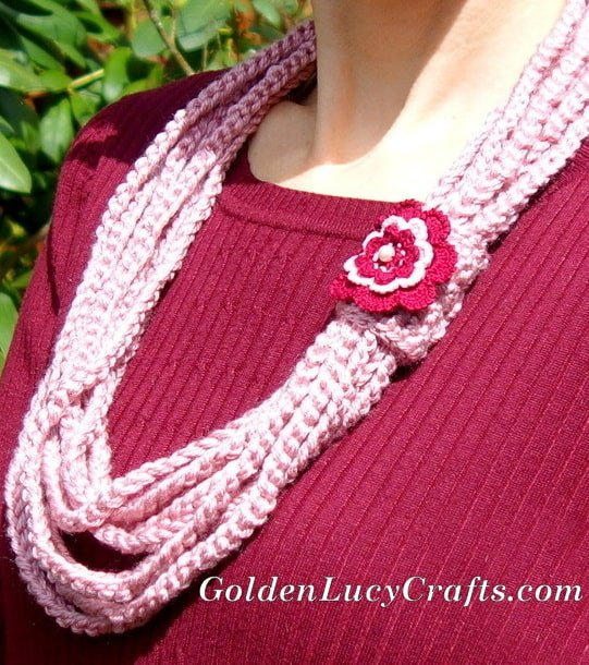 Crochet Chain Scarf Necklace Free Crochet Pattern Goldenlucycrafts