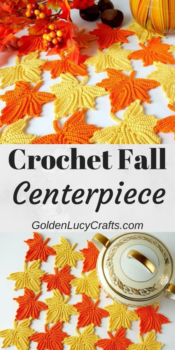 Crochet Fall table centerpiece, DIY autumn table decorations