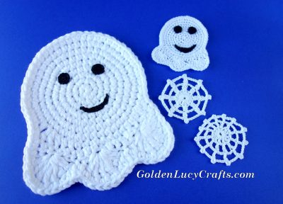 Crocheted ghosts and spider webs.