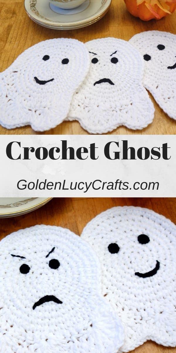 Crochet ghost coaster, applique, Halloween decorations, crochet pattern