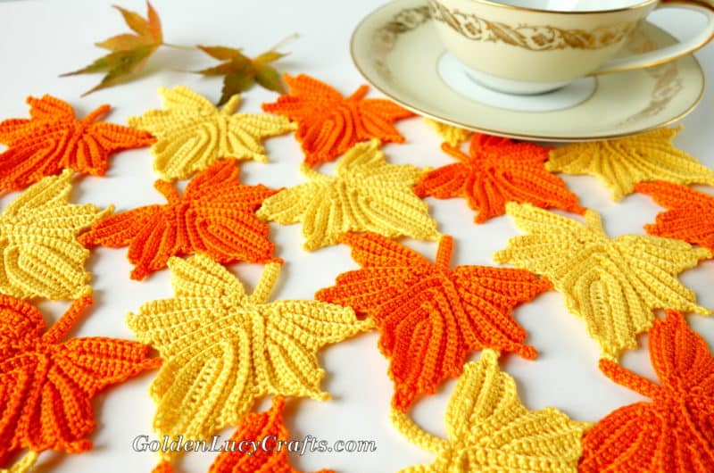 Fall Crochet Table Centerpiece, Table Topper, Table Décor, Maple Leaves