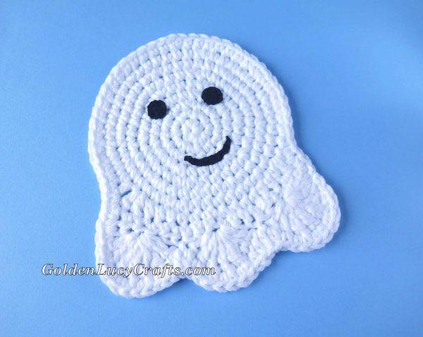 Crochet Halloween Ghost Coaster